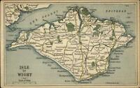 Detailed Road Map Isle of Wight England c1910 Postcard
