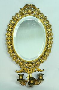 * Antique 1800's Bronze Dore' Three-Candle Beveled Mirror Sconce Candle Holder