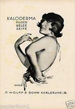 KALODERMA XL La Publicité de 1924 René Ahrlé Dame Érotique Poudre Publicité Francfort AD