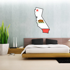 "California State Map Flag Wall Decal Large Vinyl Sticker 25"" x 14"""