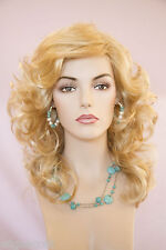 Light Golden Blonde Pale Blonde Frost Long Medium Wavy Wigs