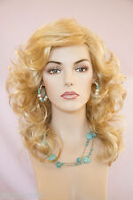 Farrah Fawcett Style Medium up to 22 in Long Blonde Brunette Red Wavy Wigs