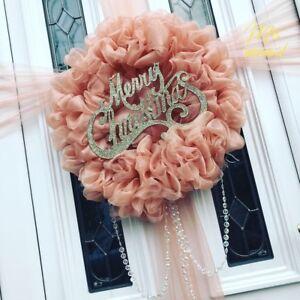 Rose Gold Ribbon Ruffle Ribbon Wreath* Christmas...  Door Bow