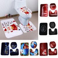 Toilet Seat Cover Rug Bathroom Mat Set 3 Pcs WC Decorations Novelty Cat Design