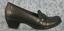 Clarks bendables Size 8M Black Strapped Leather Slip On Loafer Style Heels