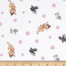 Bambi Woodland Dreams Toss White 100% cotton fabric by the yard