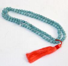 Collier mala tibétain calcédoine bleu orage Rice neuf