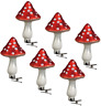 6 Mushroom Painted Glass Christmas Ornament Bauble With Alligator Clip For Tree
