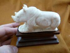 (rhino-8) white Rhinoceros Rhino of shed Antler figurine Bali detailed carving