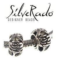Genuine Silverado 925 argento Sterling Charm Distanziatore Fiore Rosa Perline-COPPIA