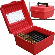 MTM 100 Round Deluxe Handled Magnum FlipTop Rifle Ammo Case (Red)
