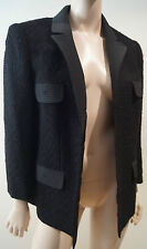 PEREL PARIS Black 100% Wool Textured Knit Pleated Sheen Detail Blazer Jacket M