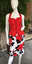 ESCADA WOMENS VINTAGE OUTFIT FLORAL PENCIL SKIRT~ RED BUSTIER SZ 36/6 PRISTINE