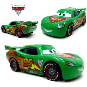 Disney Pixar Cars Green No 95 Lightning McQueen Racing Metal Diecast Car Kid Toy