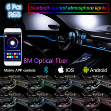 8M 6IN1 RGB LED 12V Car Interior Decor Neon EL Fiber Optical Strip Light App BT