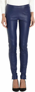 New THE ROW Lambskin Leather Notterly Imperial Navy Blue Zip Leggings 4