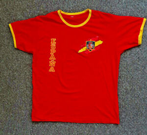 """ESPANA Spain Red & Yellow T-Shirt Short Sleeved XXL Pit to Pit 23"""" Big & Tall"""