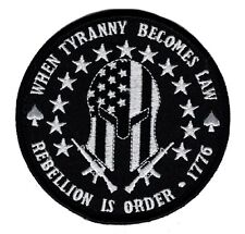Hook Three 3% Percent Rebellion Tyranny Molon Labe Tactical patch (Mty5)