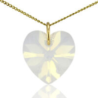 9ct Gold Piedra de nacimiento Corazón Collar con Swarovski Cristal