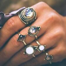 Vintage Opal Rings Big Stone Antique Gold Color Midi Knuckle Jewelry 6 PCS/Set
