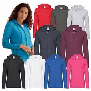 Fruit of the Loom Ladies Lightweight Zip Up Hooded Sweatshirt Unbrushed Hoodie