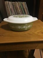 Vintage Pyrex Crazy Daisy Spring Blossom 1 1/2 Qt Oval Casserole Dish W Lid 043
