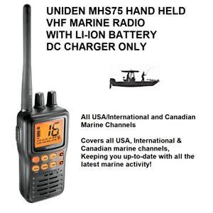 UNIDEN MHS75 HH VHF W/LI-ION BATTERY - Submersible Handheld Two-Way Marine Radio