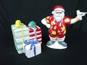 Sunny Holiday Noble Excellence Hawaiian Santa Claus Cream & Sugar For Christmas