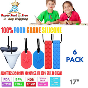 Chew Brick Sensory Chewing Necklace Chewelry For Autism Oral Motor BPA Free 6 Pc