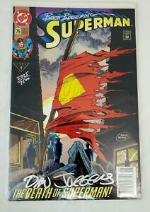 DC Comics SUPERMAN #75 SIGNED Jurgens & Breeding (1987 2nd Series) NM/VF