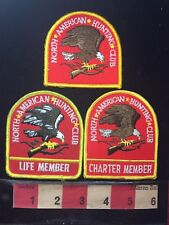 3 DIFFERENT North American Hunting Club Patch Lot - Life & Charter Member 77U9