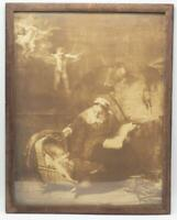 Antique The Holy Family with Angels Rembrandt Sepia Print Framed