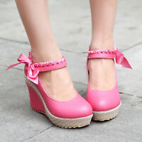 Womens High Heel Platform Wedge Pumps Round Toe Sandal Bowknot Mary Jane Shoes