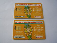 lot 2 telecartes auchan orange 50u et 120u ref phonecote F1010A et F1011