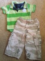 Baby Boys The Children Place 18 Months Camo pants & Polo Outfit Lot Of 2