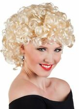 Ladies bubbly Blonde 50s Wig 1950s Sandy Grease Fancy Dress Costume Party New