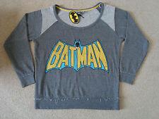 UFFICIALE Batman WOMEN'S Lounge Felpa Taglia 14-16 M nuovi con etichetta grigio Uomo Pipistrello Top Nuova