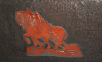 Vintage hand made leather wall decor plaque horses