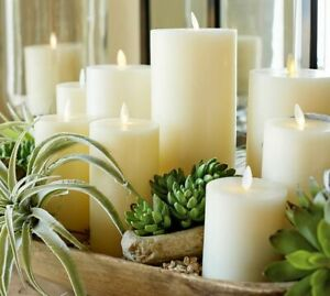 Luminara Flameless Pillar Battery LED white Candles Flickering Real Wax