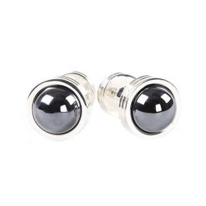 Stunning Slimline Hematite Gemstone Silver Plated Cuff Links Highly Polished Accessories Men/'s Fashion Cufflinks