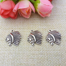 Wholesale 6pcs Tibet Silver The Indians Charm Pendant Beaded Jewelry 138