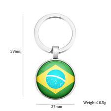 Schlüsselanhänger Schlüssel Anhänger Brasilien Brasil Rund Metall Flagge Key