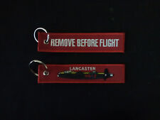 Cloth Keyring with AVRO Lancaster on front, Remove Before Flight on reverse