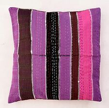Patchwork Kantha Throw Couch Sofa Pillow Cover Cushion Boho Indian Pillow Sham