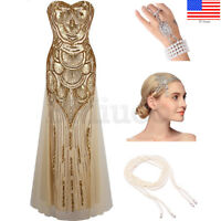 1920s Flapper Dress Great Gatsby Cocktail Evening Prom Gown Wedding Long Dresses