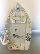 Blue Nautical Beach Sea Distressed Wooden Boat Shape - Picture Photo Frame