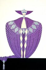 Erte 1987 LA SOMPTUEUSE LAVISH LUXURIOUS PURPLE EVENING GOWN Deco Fashion Print