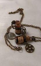 WITCH'S BREW vial vintage gothic pentagram necklace