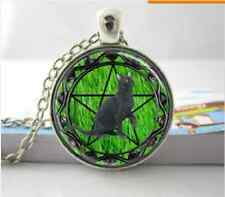Black Cat Familiar Wicca Pentagram Green Grass Background Glass Tile Jewellery P