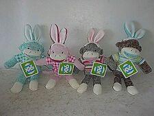"""Dan Dee Camo Easter Bunny Sock Monkey 10"""" Pink Rabbit Ears Stuffed Soft Toy"""
